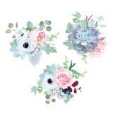 Ramalhetes sazonais do projeto do vetor das flores do casamento delicado Fotografia de Stock
