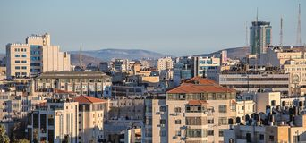 Ramallah panorama. Panorama of the city of Ramallah Palestine in the West Bank royalty free stock photos