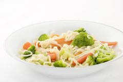 Raman and Vegetable Soup. Raman noodle soup with carrots and broccoli stock photography