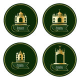 Ramadan Kareem Islam gold building circle set. This illustration is drawing and design luxury Ramadan Kareem Islam with golden color building in set royalty free illustration
