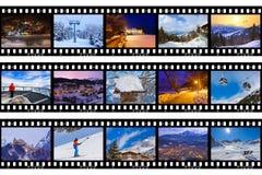 Ramar av filmen - berg skidar Österrike bilder Arkivfoton