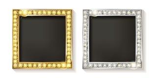 Ramar för guld- och silvervektorbild stock illustrationer