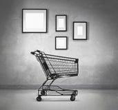 Ramar för shoppingvagn och mellanrums Arkivbilder