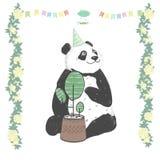 Ramar för svart björn för kort för beröm för födelsedag för hälsning för djur illustration för teckning för pandagemkonst gulliga stock illustrationer