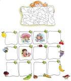 Ramar med frukt och flickan Arkivbild