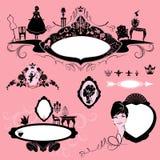 Ramar med glamourtillbehör, möblemang, flickastående Royaltyfria Bilder