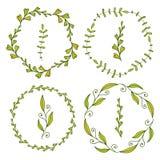 Ramar med gulliga sidor Fjädra garnering för baner-, hälsning- och inbjudanca-ramar med gulliga lerds, räkningar, packedesign royaltyfri illustrationer