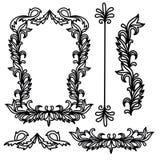Ramar och gränser för klassisk krusidullklotterillustration dekorativa stock illustrationer