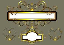Ramar som dekoreras med guld- stjärnor och virvlar Royaltyfri Bild