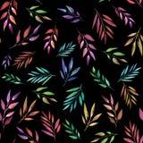 Ramas abstractas del color en el fondo negro, modelo incons?til Ilustraci?n de la acuarela Dise?o para los fondos, papeles pintad stock de ilustración