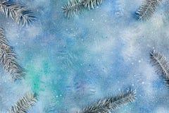 Ramas de árbol de abeto de plata en fondo azul pintado de la Navidad Fotos de archivo libres de regalías