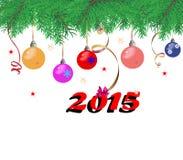 Ramas de árbol de abeto de la Navidad en un fondo blanco con colorido Fotografía de archivo libre de regalías
