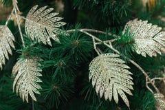 Ramas de árbol de navidad con las guirnaldas y el ornamento de oro brillantes Fotos de archivo libres de regalías