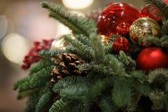 Ramas de árbol de navidad con los conos Fotos de archivo