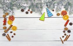 Ramas de árbol de navidad en nieve y galletas festivas con las especias Imagen de archivo