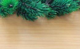 Ramas de árbol de pino en la frontera de madera Fotografía de archivo libre de regalías