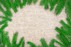 Ramas de árbol de navidad en el fondo de madera marrón Imagenes de archivo