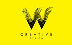 Ramas de árbol de W Logo Letter Made From Black Imagenes de archivo