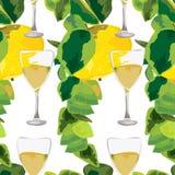 Ramas de Apple y vidrios del modelo inconsútil de la bebida Imagen de archivo