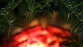 Ramas de capítulo de la picea en un fondo del fuego en la chimenea Una escena acogedora como espacio en blanco para la decoración almacen de metraje de vídeo