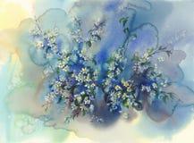Ramas de la cereza en fondo de la acuarela de la floración ilustración del vector