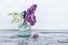 Ramas de la lila en florero de cristal transparente en la tabla de madera Imagen de archivo
