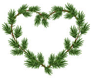 Ramas de la picea del marco del corazón de la Navidad Modelo para la tarjeta de Navidad Fotos de archivo