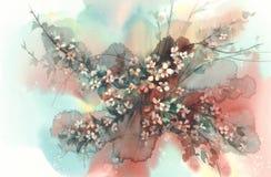 Ramas de Sakura en fondo de la acuarela de la floración Imagen de archivo
