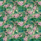 ramas de un árbol floreciente watercolor wallpaper Modelo inconsútil Fotografía de archivo