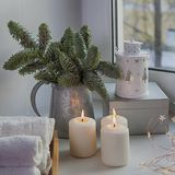 Ramas de un árbol de navidad con los juguetes secos de las naranjas y del ` s del Año Nuevo Tarjeta de Navidad Imagen de archivo libre de regalías