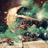 Ramas del árbol de abeto azul en una cesta rústica Nieve exhausta Foto de archivo libre de regalías