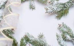 Ramas del abeto y decoraciones nevadas de la Navidad con el espacio para el texto Foto de archivo