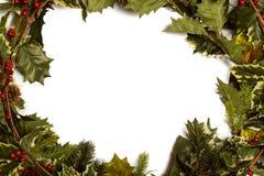 Ramas del acebo y de la Navidad que forman el marco Fotos de archivo libres de regalías