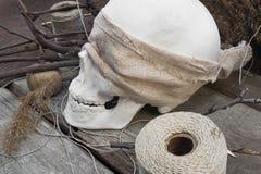Ramas del cráneo con las madejas del hilo Fotografía de archivo libre de regalías