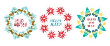 Ramas del pino de la guirnalda de la Navidad, estrella adornada Ilustración del vector libre illustration