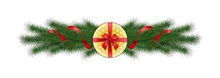 Ramas del pino del vector de la Navidad 3d con el arco y el yello rojos de la cinta libre illustration