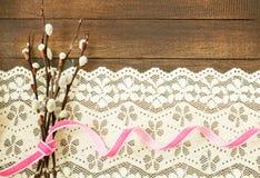Ramas del sauce con la cinta rosada Fotografía de archivo libre de regalías