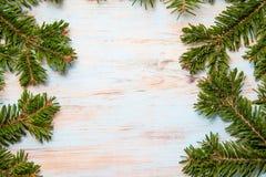 Ramas verdes de un árbol de navidad en un tablero azul con un lugar para la inscripción foto de archivo libre de regalías