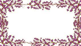 Ramas y crecimiento de flores púrpura en un marco en Alpha Channel stock de ilustración