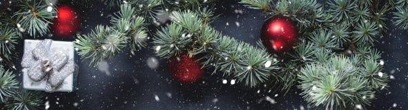 Ramas y ornamentos verdes de la Navidad en negro Imágenes de archivo libres de regalías