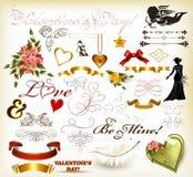 Ramassage d'éléments décoratifs du jour de valentine pour la conception dedans Photographie stock