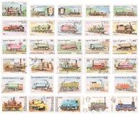 Ramassage d'estampille : Locomotives à vapeur photo libre de droits