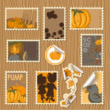 Ramassage d'estampilles postales - potirons Photo libre de droits