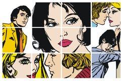 Ramassage d'ilustrations avec des couples dans l'amour illustration libre de droits