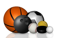 Ramassage de basket-ball, de football, de tennis et de golf Image libre de droits