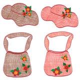 Ramassage de chapeaux et de sacs wattled dernier cri de femme Images stock