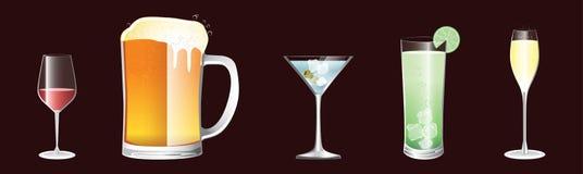 Ramassage de cinq boissons illustration libre de droits