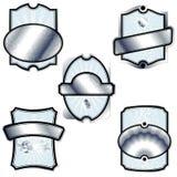 Ramassage de cinq rétro étiquettes argentées illustration de vecteur