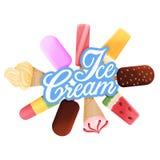 Ramassage de crême glacée Dessert et label délicieux illustration stock