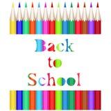 Ramassage de crayons colorés L'inscription découpée de nouveau à l'école illustration libre de droits